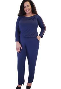 Macacão Azul Marinho Com Tule E Bolsos Massambani Plus Size Azul Marinho