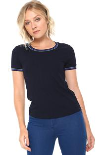 Camiseta Lunender Canelada Azul-Marinho