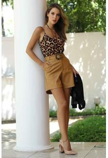 Blusa Regata Alças Finas Estampa Animal Print-P