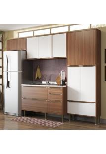 Cozinha Compacta 11 Portas 3 Gavetas 5458 Nogueira/Branco - Multimóveis