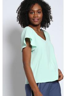 Blusa Texturizada Com Tiras & Ilhoses- Verde Clarotvz