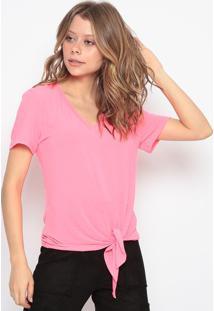 Blusa Lisa Com Amarraã§Ã£O - Rosa Neon - Chocoleitechocoleite