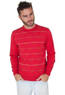 Blusa G'Dom Vermelha Com Cotoveleiras E Geométrica