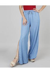 dd8e9d7fc ... Calça Jeans Feminina Pantalona Com Fenda Azul Claro