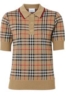 Burberry Camisa Polo Xadrez - Neutro