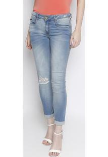 Jeans Low Second Skinny Estonada - Azul Claro -Lançalança Perfume