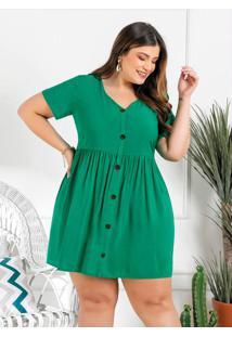 Vestido Plus Size Verde Com Botões Decorativos