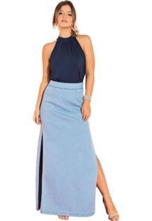 Saia Longa Quintess Com Fenda Jeans Azul - Azul - Feminino - Algodã£O - Dafiti