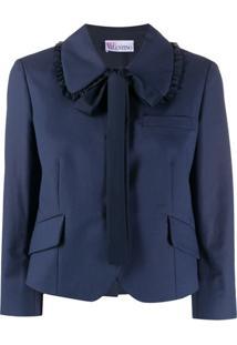 Redvalentino Blazer Com Amarração Na Gola - Azul