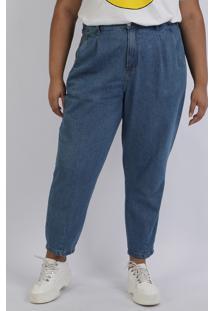 Calça Jeans Feminina Mindset Plus Size Mom Cintura Alta Com Bolsos Azul Médio