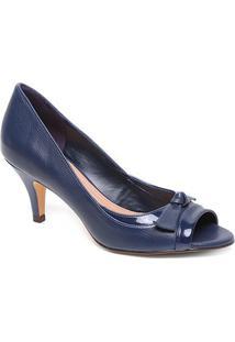 Peep Toe Couro Shoestock Salto Médio Laço - Feminino-Marinho
