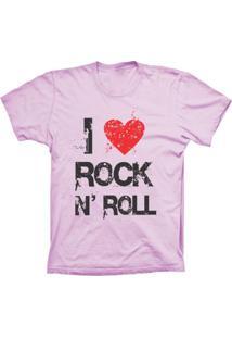 Camiseta Baby Look Lu Geek I Love Rock Rosa