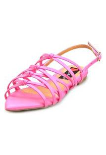 Sandalia Love Shoes Rasteira Bico Folha Trançado Nó Rosa