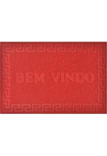 """Capacho De Porta """"Bem-Vindo""""- Vermelho- 90X60Cm-Niazitex"""