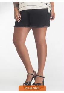 Shorts Plus Size Jeans Secret Glam Preto
