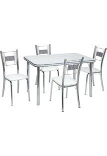 Conjunto De Mesa Com 4 Cadeiras Mirela Corino Branco E Cromado - Única