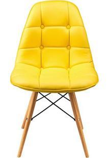 Cadeira Eames Dkr Botone Base Eiffel Madeira Amarela Inovakasa