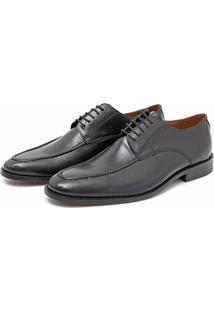 Sapato Social Masculino Em Couro Galloun De Amarrar - Masculino-Preto