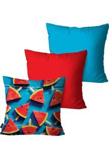 Kit Com 3 Capas Para Almofadas Pump Up Decorativas Vermelho Melancia 45X45Cm