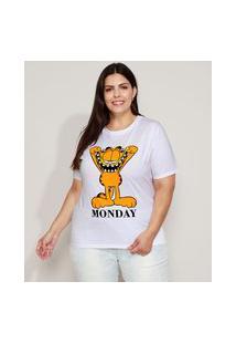 Camiseta Feminina Plus Size Garfield Flocada Manga Curta Decote Redondo Branca