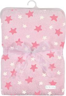 Cobertor De Poliéster - 80X110 Cm - Estrelinhas - Rosa - Tip Top - Único