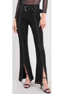 Calça Feminina Pantalona Com Fenda E Cinto Preta
