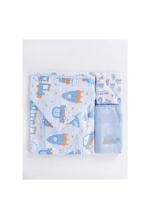 Jogo De Banho Para Bebê - Azul
