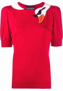 Boutique Moschino Blusa Com Bordado De Cisne - Vermelho
