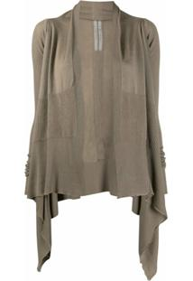 Rick Owens Asymmetric Hem Ribbed Panel Cardigan - Marrom
