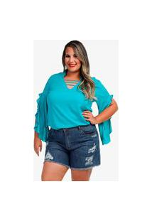 Blusa Poliana Plus Size Azul Ofsina