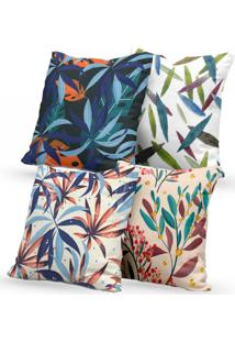 Kit 4 Capas De Almofadas Decorativas Own Folhas Coloridas 45X45 - Somente Capa