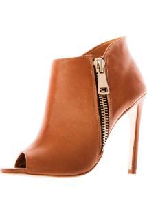 Bota Open Boot Conceito Fashion Couro Napa Whisky