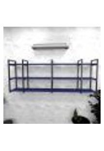 Estante Industrial Escritório Aço Cor Preto 180X30X68Cm (C)X(L)X(A) Cor Mdf Azul Modelo Ind34Azes