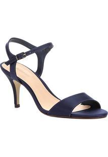 Sandália Shoestock Salto Fino Cetim Feminina - Feminino-Marinho