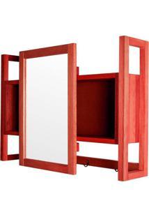 Armario Aereo C/ Espelho Troia Estrutura Vermelha 86Cm - 61428 - Sun House