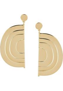 Ooak Par De Brincos De Semicírculo - Dourado