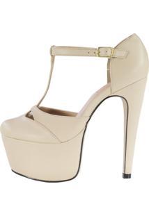 Sandália Salto 15 Week Shoes Bico Fechado Amendoa