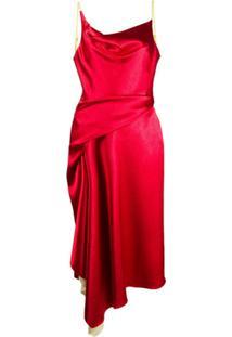 Sies Marjan Vestido Farrah De Cetim - Vermelho