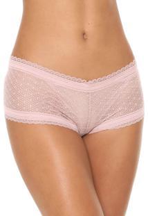 Calcinha Liz Hot Pant Renda Rosa