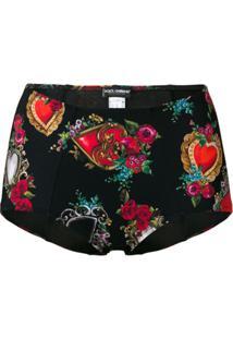Dolce & Gabbana Calcinha Cintura Alta Estampada - Preto