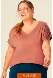 Blusa Rosê Botonê Com Decote V Plus