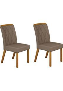 Conjunto Com 2 Cadeiras Esmeralda Imbuia Mel E Veludo Camurça