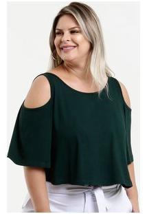 Blusa Feminina Cropped Open Shoulder Plus Size Manga Curta