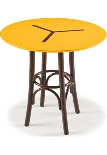 Mesa Bistrô Baixa Opzione Imbuia E Amarelo