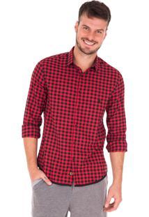 Camisa Manga Longa Side Walk Camisa Vichy Vermelho