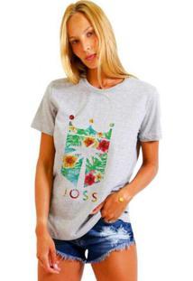 Camiseta Joss Básica Floral Cinza Dtg