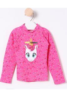 Camiseta Confetes & Unicórnio- Rosa & Branca- Puketpuket