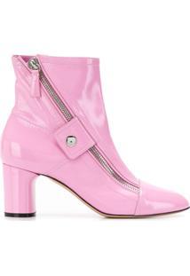 Casadei Ankle Boot Com Zíper Lateral - Rosa