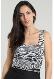 Regata Feminina Estampada Animal Print Decote Redondo Branca