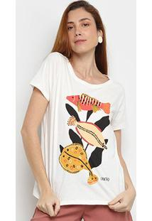 Camiseta Cantão Fish Manga Curta Feminina - Feminino-Off White